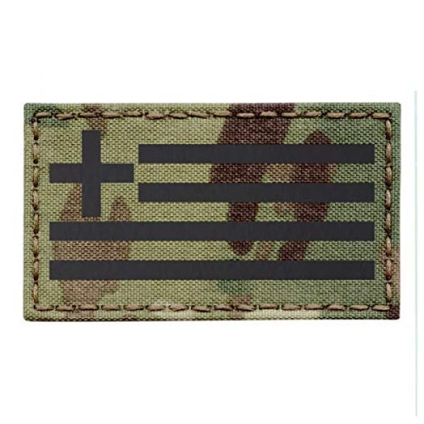 Tactical Freaky Airsoft Morale Patch 1 IR Multicam Greek Greece Flag Hellenic Hellas 3.5x2 Infrared IFF Tactical Morale Fastener Patch