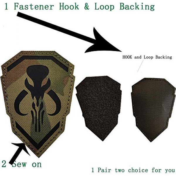 Kseen Airsoft Morale Patch 4 2 Pack IR Bounty Hunter Reflective Mythosaur Infrared Patch Star Wars Mandalorian Tactical Military Fastener Morale Shoulder with Hook and Loop Backing Embroidered CP Patches