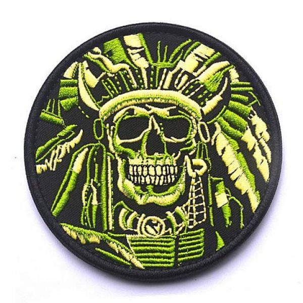 Embroidery Patch Airsoft Morale Patch 1 Death Skull Warrior Indian Chief Military Hook Loop Tactics Morale Embroidered Patch (color1)