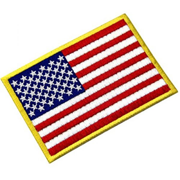EmbTao Airsoft Morale Patch 3 American Flag Patches Embroidered Gold Border USA United States of America Military Uniform Fastener Hook & Loop Emblem