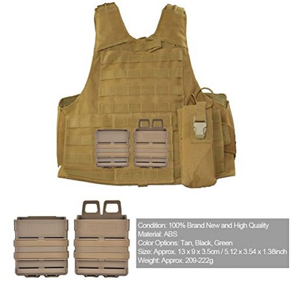 VGEBY Tactical Pouch 6 2Pcs Tactical Magazine Pouch Bag, Plastic Clip Mags Holder Set Quick Pull Box for Molle System Vest