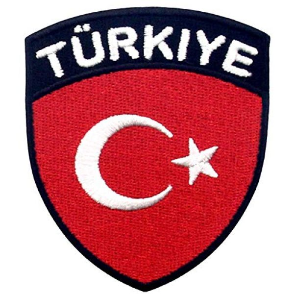EmbTao Airsoft Morale Patch 1 EmbTao Turkey Flag Shield Patch Embroidered National Morale Applique Iron On Sew On Turk Emblem