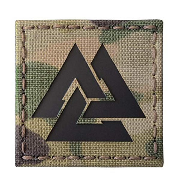 Tactical Freaky Airsoft Morale Patch 1 Multicam Infrared IR Viking Valknut Norse 2x2 IFF Tactical Morale Touch Fastener Patch