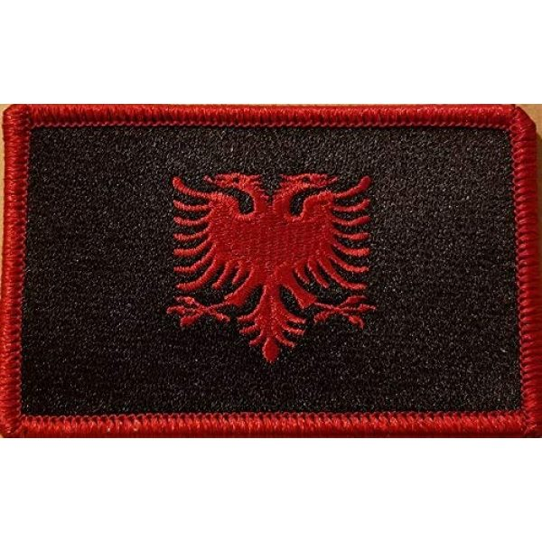 Fast Service Designs Airsoft Morale Patch 1 Albania Flag Embroidered Patch with Hook & Loop Tactical Travel Albanian Black & Red Version Morale Emblem Red Border 3 1/2 X 2 1/4 Inches