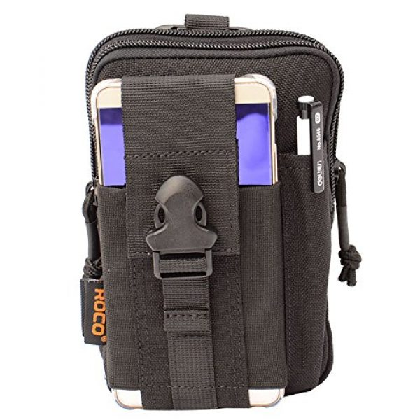 ROCOTACTICAL Tactical Pouch 1 Compact Tactical Molle EDC Pouch Utility Gadget Belt Waist Bag with Cell Phone Holster Holder for Iphone 6 Plus, 1000D Nylon (Black)