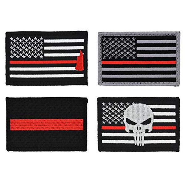 Great 1 Airsoft Morale Patch 1 American Flag Patch 4-Pack Set, 2x3 inch, Embroidered, Hook and Loop, Military and Tactical Accessory for Clothing-Jackets-Hats-Backpacks (Thin Red Line)