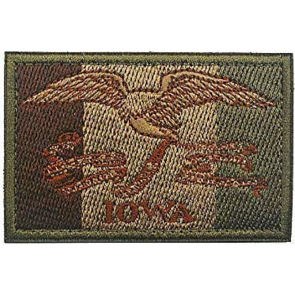 Embroidery Patch Airsoft Morale Patch 1 US Iowa State Flag Military Hook Loop Tactics Morale Embroidered Patch