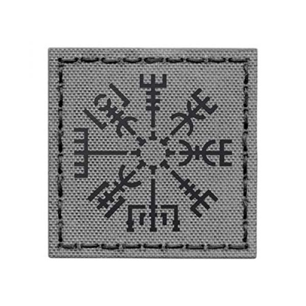 Tactical Freaky Airsoft Morale Patch 1 IR Wolf Gray Vegvisir Viking Norse Heathen 2x2 Grey IFF Tactical Morale Touch Fastener Patch