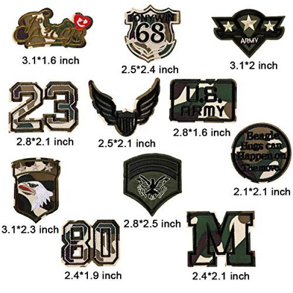 Fexo Airsoft Morale Patch 5 Tactical Military Combat Morale Patch 10 PCS Assorted US Military Patches Set for Caps, Bags, Backpacks, Tactical Vest, Military Uniforms