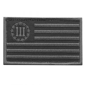 LEGEEON Airsoft Morale Patch 1 LEGEEON Blackout Three Percenter 2x3.25 USA Flag 3% American Rebellion Militia Morale Tactical Military Touch Fastener Patch