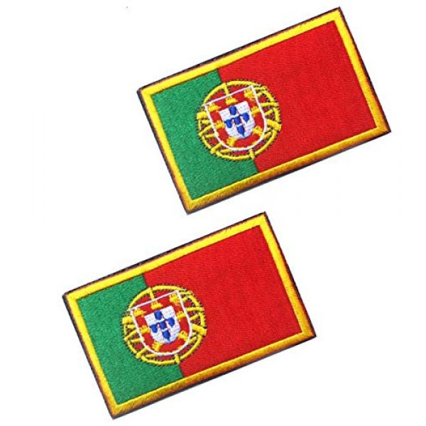 Tactical Embroidery Patch Airsoft Morale Patch 1 2pcs Portugal Flag Embroidery Patch Military Tactical Morale Patch Badges Emblem Applique Hook Patches for Clothes Backpack Accessories