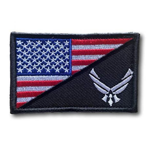 Backwoods Barnaby Airsoft Morale Patch 1 Backwoods Barnaby U.S. Air Force/American Flag USAF Military Morale Patch with Hook & Loop