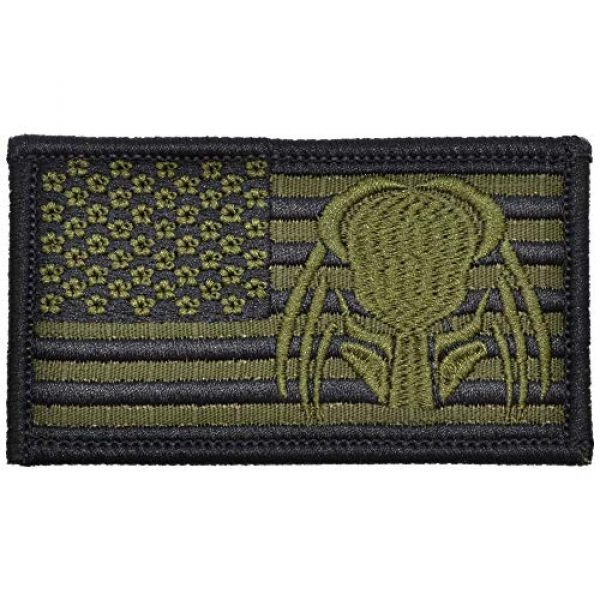 Tactical Gear Junkie Airsoft Morale Patch 1 USA Flag with Superimposed Predator Head - 2x3.5 Patch - Olive Drab