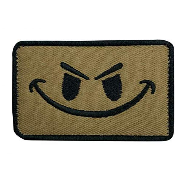 Tactical Embroidery Patch Airsoft Morale Patch 1 Evil Smiley Smile Face Embroidery Patch Military Tactical Morale Patch Badges Emblem Applique Hook Patches for Clothes Backpack Accessories