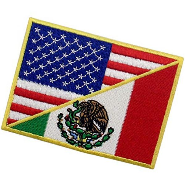 EmbTao Airsoft Morale Patch 4 USA American United State Flag and Mexico Flag Patch Embroidered National Applique Iron On Sew On Emblem, Multi-Color