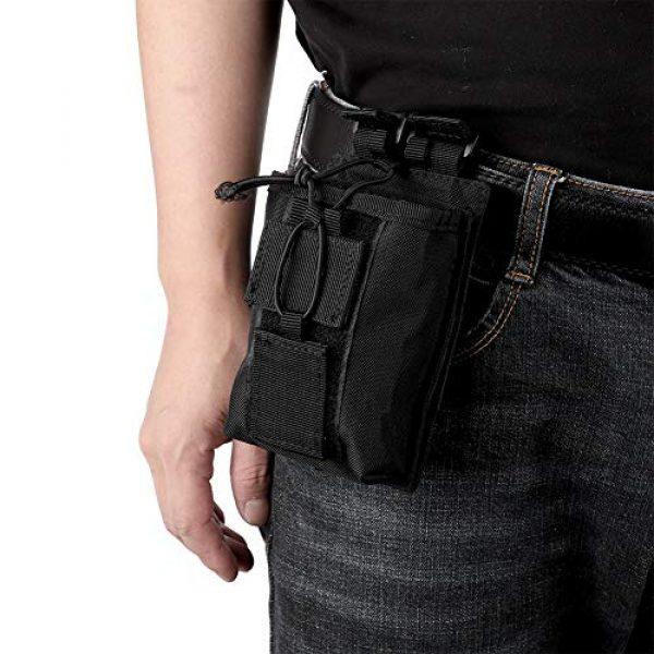 Rosvola Tactical Pouch 6 Rosvola Waterproof Walkie-Talkie Holder, with Snap Buckles Intercom Bag, Walkie-Talkie Bag, Wear-Resistant and Durable Simple Design and Color Black for Security Office