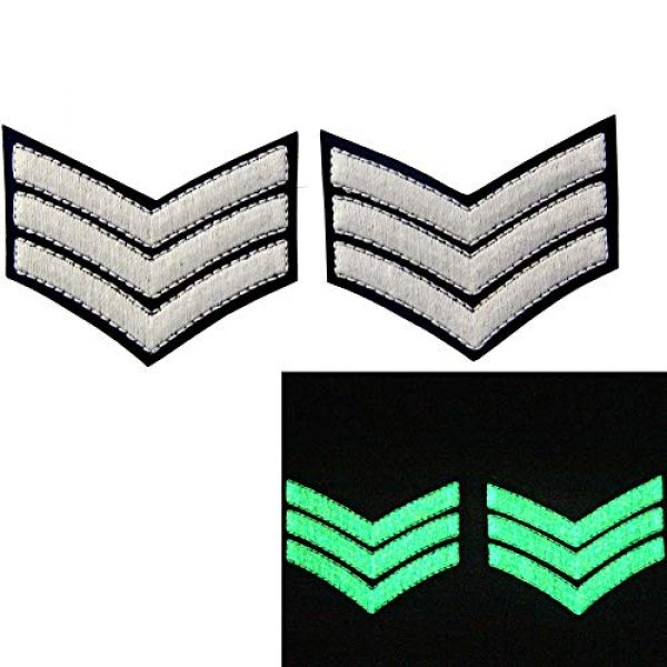 EmbTao Airsoft Morale Patch 2 Glow in Dark Millitary Uniform Chevrons Sergeant Stripes US Army Embroidered Arms Emblem Iron On Sew On Shoulder Patch, Pack of 2