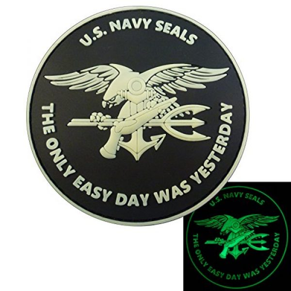 LEGEEON Airsoft Morale Patch 1 LEGEEON Glow Dark US Navy Seals The Only Easy Day was Yesterday DEVGRU Morale PVC Fastener Patch