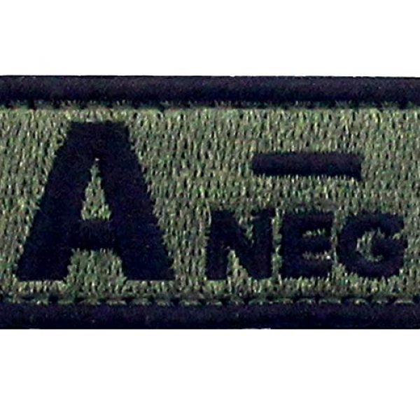 """EmbTao Airsoft Morale Patch 2 EmbTao Type A Negative Tactical Blood Type Patch Embroidered Morale Applique Fastener Hook & Loop Emblem - Green & Black - 2""""x1"""""""