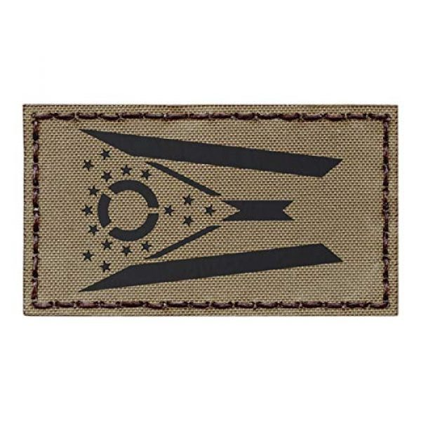 Tactical Freaky Airsoft Morale Patch 1 IR Tan Ohio State Flag Coyote Brown 2x3.5 Infrared IFF Tactical Morale Hook&Loop Patch