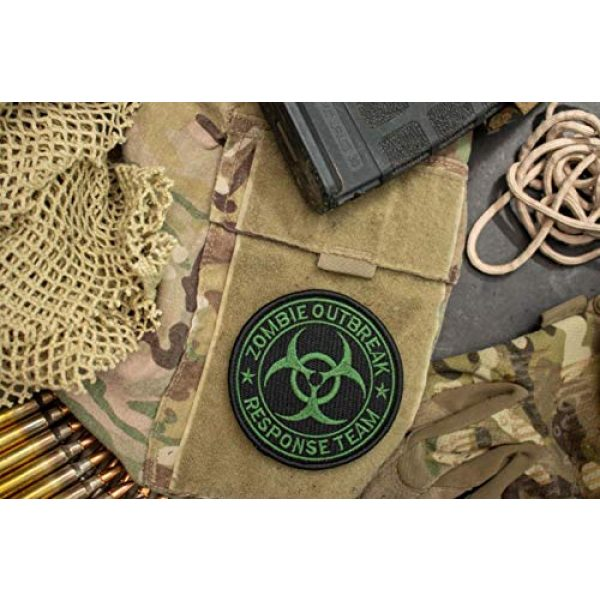 BASTION Airsoft Morale Patch 2 BASTION Morale Patches (Zombie Response Team, Green) | 3D Embroidered Patches w/Hook & Loop Fastener Backing | Well-Made Clean Stitching, Military Patches for Tactical Bag, Hats & Vest