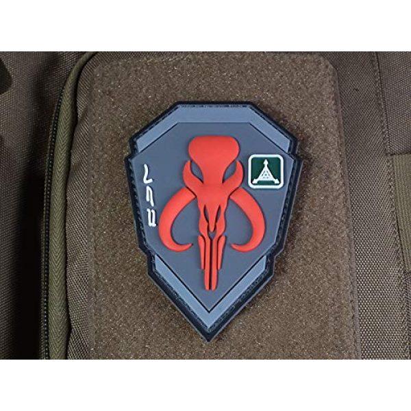 Zhikang68 Airsoft Morale Patch 2 Mandalorian Patch Mythosaur Skull Crest Shield Bounty Hunter Boba Fett Tactical Military Morale 3D PVC Rubber Armband Badge Emblem Applique (Red)