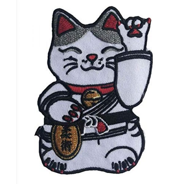 BJJASIA Airsoft Morale Patch 2 BJJASIA Martial Arts Jiu Jitsu Kitty Cat Black Belt Maneki-Neko Tactical Morale Gear Patch Iron On Sew On Appliqu©