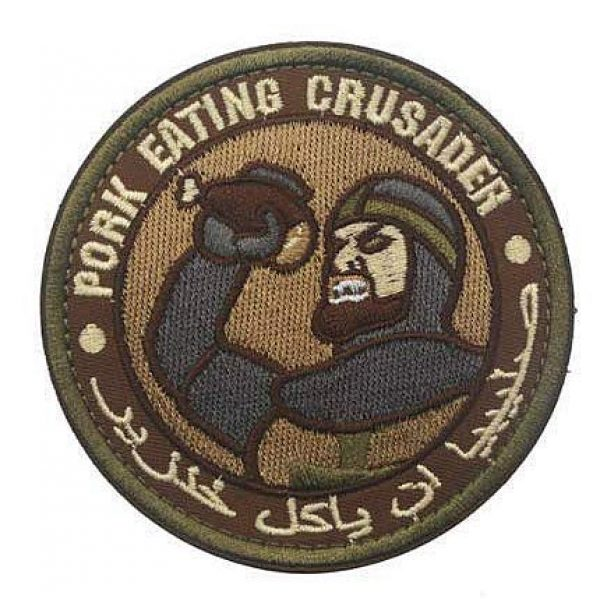 Embroidery Patch Airsoft Morale Patch 1 Pork Eating Crusader Military Hook Loop Tactics Morale Embroidered Patch (color1)