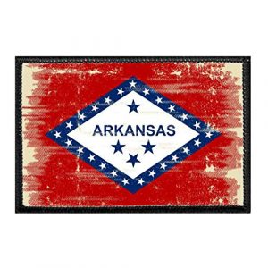 P PULLPATCH Airsoft Morale Patch 1 Arkansas State Flag - Color - Distressed Morale Patch | Hook and Loop Attach for Hats, Jeans, Vest, Coat | 2x3 in | by Pull Patch