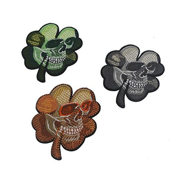 Zhikang68 Airsoft Morale Patch 6 Irish Clover Shamrock Skull Head Biker Tactical Morale Badge Emblem Embroidered Sew On Applique Patch (Green Skull)