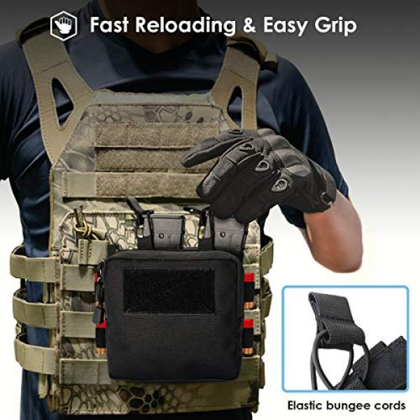 ProCase Tactical Pouch 5 ProCase Tactical Admin Molle Pouch with 2 Rifle Magazine Pouch for M4 G36 HK416 AR AK 5.56/7.62 mm Magazines -Black