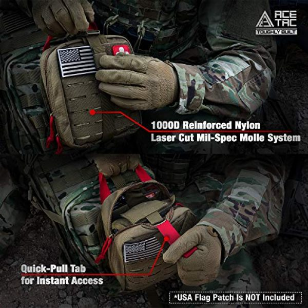 AceTac Gear Tactical Pouch 6 Ace Tac MOLLE Medical Pouch EMT 1000D Nylon First Aid Pouch Rip-Away IFAK Tactical Utility Pouch for Outdoor Activities Medical Supplies