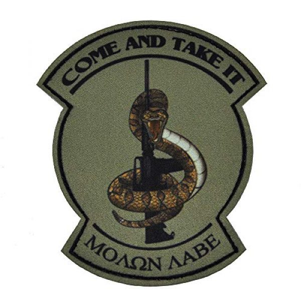 KTW Airsoft Morale Patch 1 KTW Come and Take It Snake Printed Morale Patch OD Green
