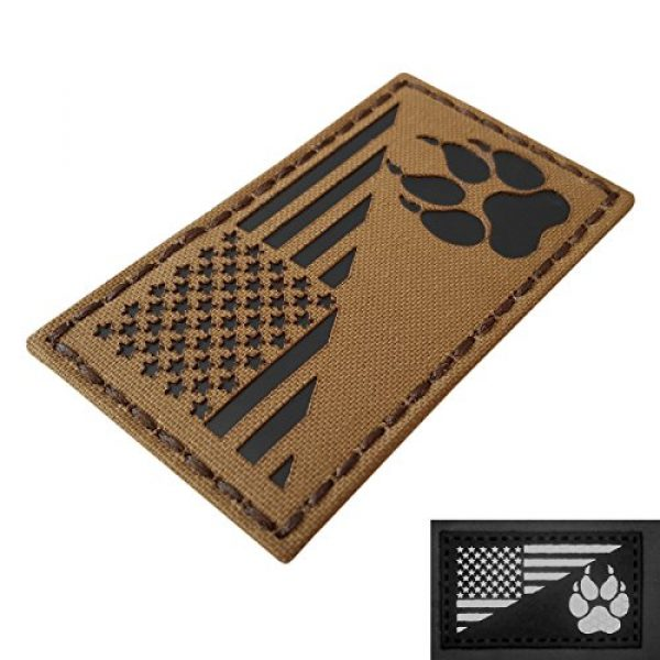 Tactical Freaky Airsoft Morale Patch 1 Coyote IR K9 Dog Handler Paw K-9 USA Flag Brown Tan Infrared Tactical Morale Hook&Loop Patch