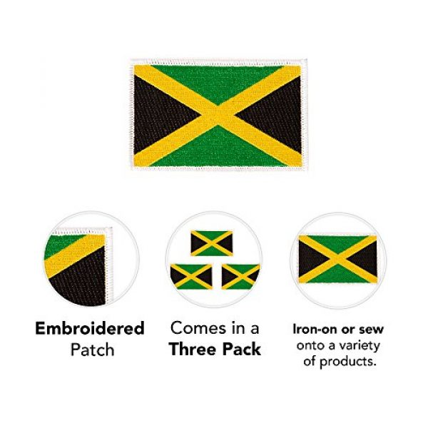 Desert Cactus Airsoft Morale Patch 3 Jamaica Flag Patch Bulk 3.5 inch x 2.25 inch State Iron On Sew Embroidered Tactical Backpack Hat Bags Jamaican (3-Pack Patch)