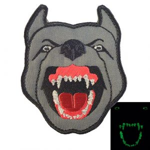 LEGEEON Airsoft Morale Patch 1 LEGEEON Glow Dark GITD K9 Pitbull Dog Teeth Scary Fierce Morale Tactical Embroidered Hook&Loop Patch
