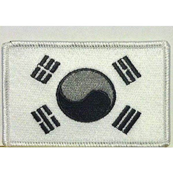 Fast Service Designs Airsoft Morale Patch 1 South Korea Flag Embroidered Patch with Hook & Loop Patriotic Korean MC Biker Morale Emblem Black, Gray & White Color Version. White Border #33