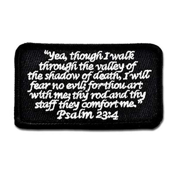 BASTION Airsoft Morale Patch 1 BASTION Morale Patches (Psalm 23:4, Black)   3D Embroidered Patches with Hook & Loop Fastener Backing   Well-Made Clean Stitching   Christian Patches Ideal for Tactical Bag, Hats & Vest
