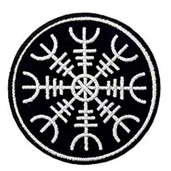 Embroidery Patch Airsoft Morale Patch 1 Viking Helm of Awe Viking Compass Vegvisir Norse Rune Military Hook Loop Tactics Morale Embroidered Patch (color1)