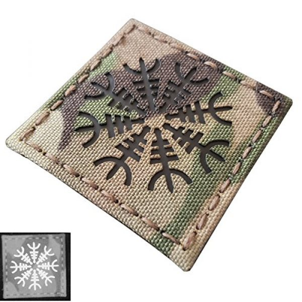 Tactical Freaky Airsoft Morale Patch 1 Multicam Infrared IR Aegishjalmur Helm of Awe Viking Norse 2x2 IFF Tactical Morale Hook&Loop Patch
