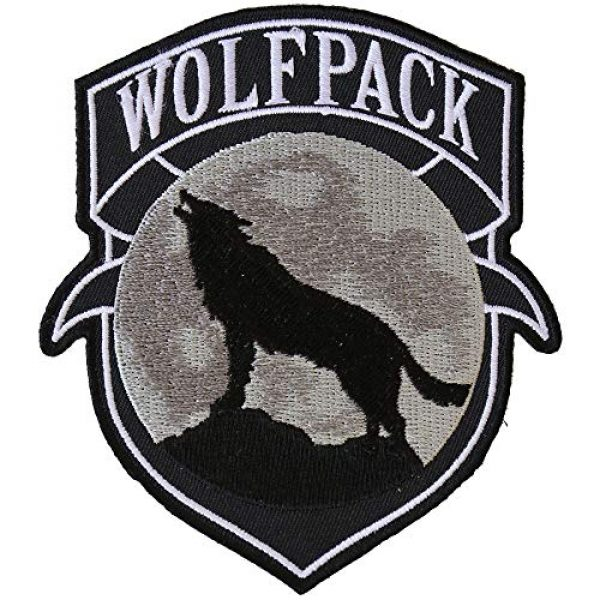 Ivamis Trading Airsoft Morale Patch 1 Wolfpack Patch Wolf Howling Moon Silhouette - 4x3.6 inch. Embroidered Iron on Patch