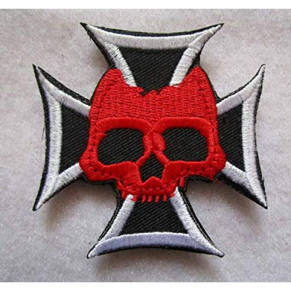 Embroidered Patch Airsoft Morale Patch 1 German Cross Skull & Crossbones 3D Tactical Patch Military Embroidered Morale Tags Badge Embroidered Patch DIY Applique Shoulder Patch Embroidery Gift Patch