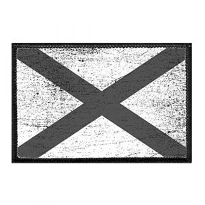 P PULLPATCH Airsoft Morale Patch 1 Alabama State Flag - Black and White - Distressed Morale Patch | Hook and Loop Attach for Hats, Jeans, Vest, Coat | 2x3 in | by Pull Patch