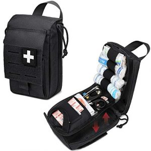 WYNEX Tactical Pouch 1 WYNEX Tactical Rip Away First Aid Pouch, Laser-Cut Design Molle EMT Bag Survival IFAK Pouches Blow Out Emergency Medical Organizer Include Red Cross Patch (Pouch Only)