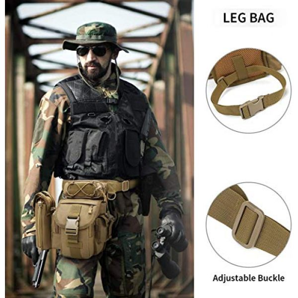 ACOMOO Tactical Pouch 4 ACOMOO Tactical Drop Leg Waist Bag Mens Outdoor Sport Thigh Hip Pack Utility Pouch Brown