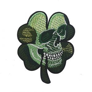 Zhikang68 Airsoft Morale Patch 1 Irish Clover Shamrock Skull Head Biker Tactical Morale Badge Emblem Embroidered Sew On Applique Patch (Green Skull)