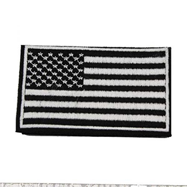 ZHDTW Airsoft Morale Patch 2 ZHDTW Tactical Morale Black and White American National Flag Embroidered Patches with Hook and Loop for Backpack (DT-028)