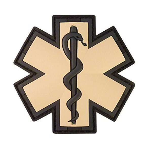 LEGEEON Airsoft Morale Patch 1 EMS EMT Medic Paramedic Star of Life AOR1 Desert DCU Arid Mud Morale PVC Fastener Patch