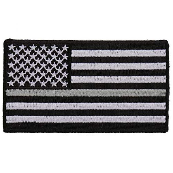Ivamis Trading Airsoft Morale Patch 1 Thin Silver Line American Flag for Corrections - 3.5x2 inch. Embroidered Iron on Patch