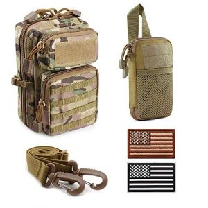 Uphily Tactical Pouch 1 Uphily Tactical MOLLE Pouches with Military Patches